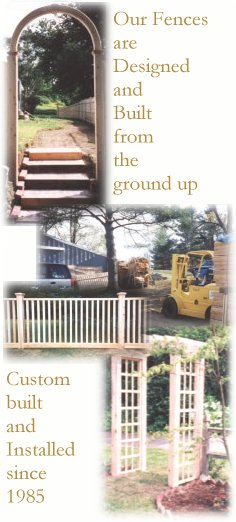 collage of Upright Fence Company fence work in progress and completed